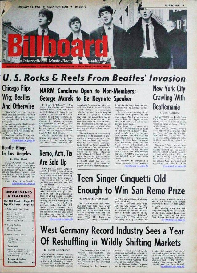 """Billboard del 15 febbraio 1964 annuncia """"l'invasione dei Beatles"""". Da notare anche l'articolo dedicato a Gigliola Cinquetti, fresca vincitrice del 14° festival di Sanremo con """"Non ho l'età"""". Per chi fosse interessato, qui l'intero archivio in pdf di quasi sessant'anni di storia della rivista musicale americana più famosa insieme a Rolling Stone (arrivato molto dopo, nel 1967)."""